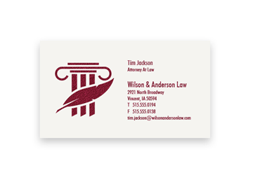 1 Color Standard Business Card - Raised Print, 1-Sided