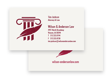 1 Color Standard Business Card - Raised Print, 2-Sided