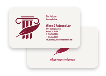 1 Color Standard Business Card - Raised Print, 2-Sided, Round Corners
